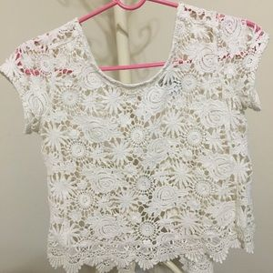 Sheer Floral-Embroidered Top